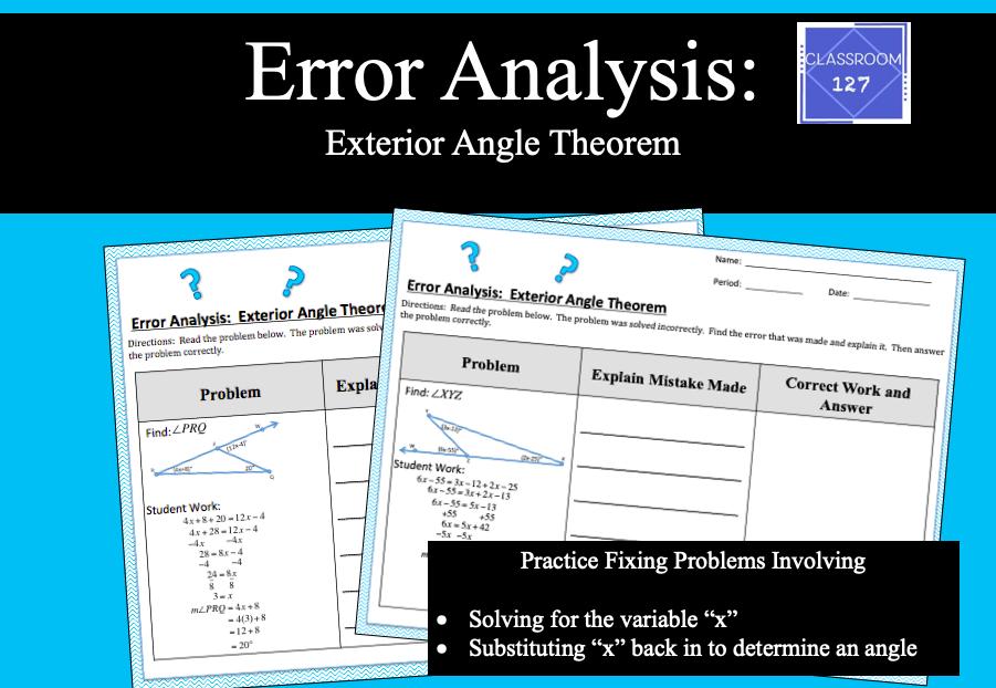 Error Analysis Exterior Angle Theorem Graphing Linear Equations Error Analysis Error Analysis Math