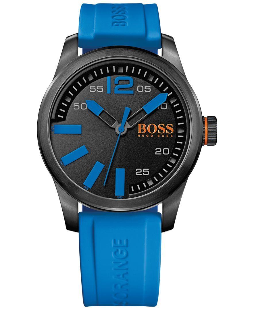 2156d21da6a6 Hugo Boss Men s Boss Orange Paris Blue Silicone Strap Watch 44mm 1513048