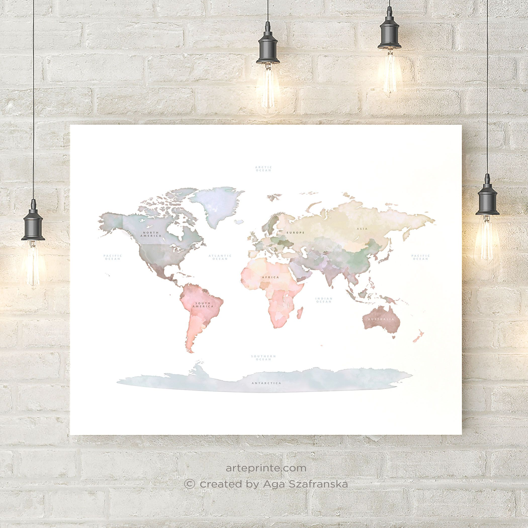Original World Map Print With Continent Names Printable World Etsy World Map Wall Art Map Wall Art World Map Wall