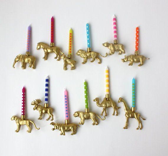Set Of All 12 Safari Animal Birthday Candle Holder