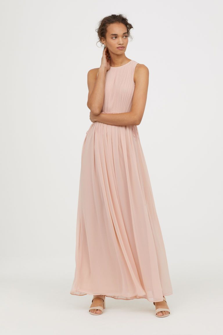 24df796eb31007 Maxi-jurk van chiffon - Poederroze - DAMES