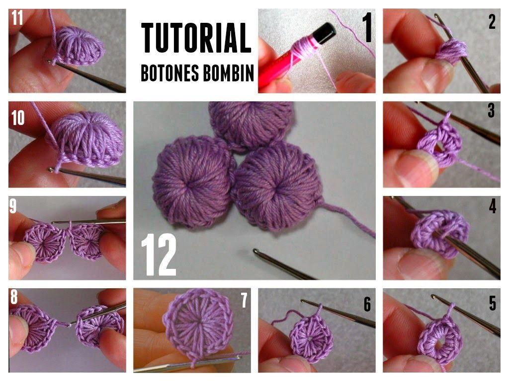 Botones bombin de crochet tutorial - Patrones Crochet ༺✿ƬⱤღ http ...