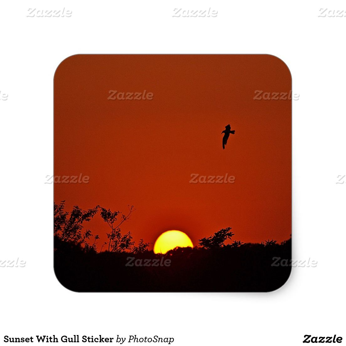 Sunset With Gull Sticker