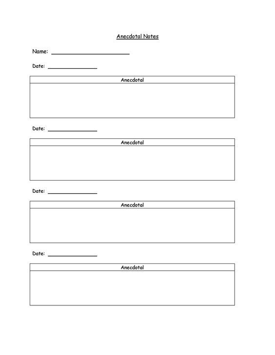 Image Result For Anecdotal Notes Template Teachers  K