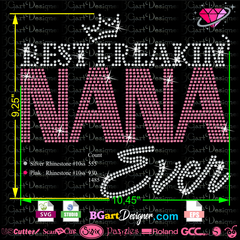 Best Freakin NANA Ever rhinestone Vinyl quotes
