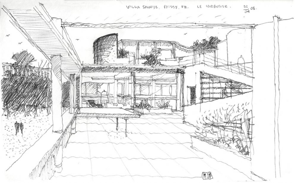 Croquis de la villa savoye por le corbusier le corbusier - Arquitectos famosos espanoles ...