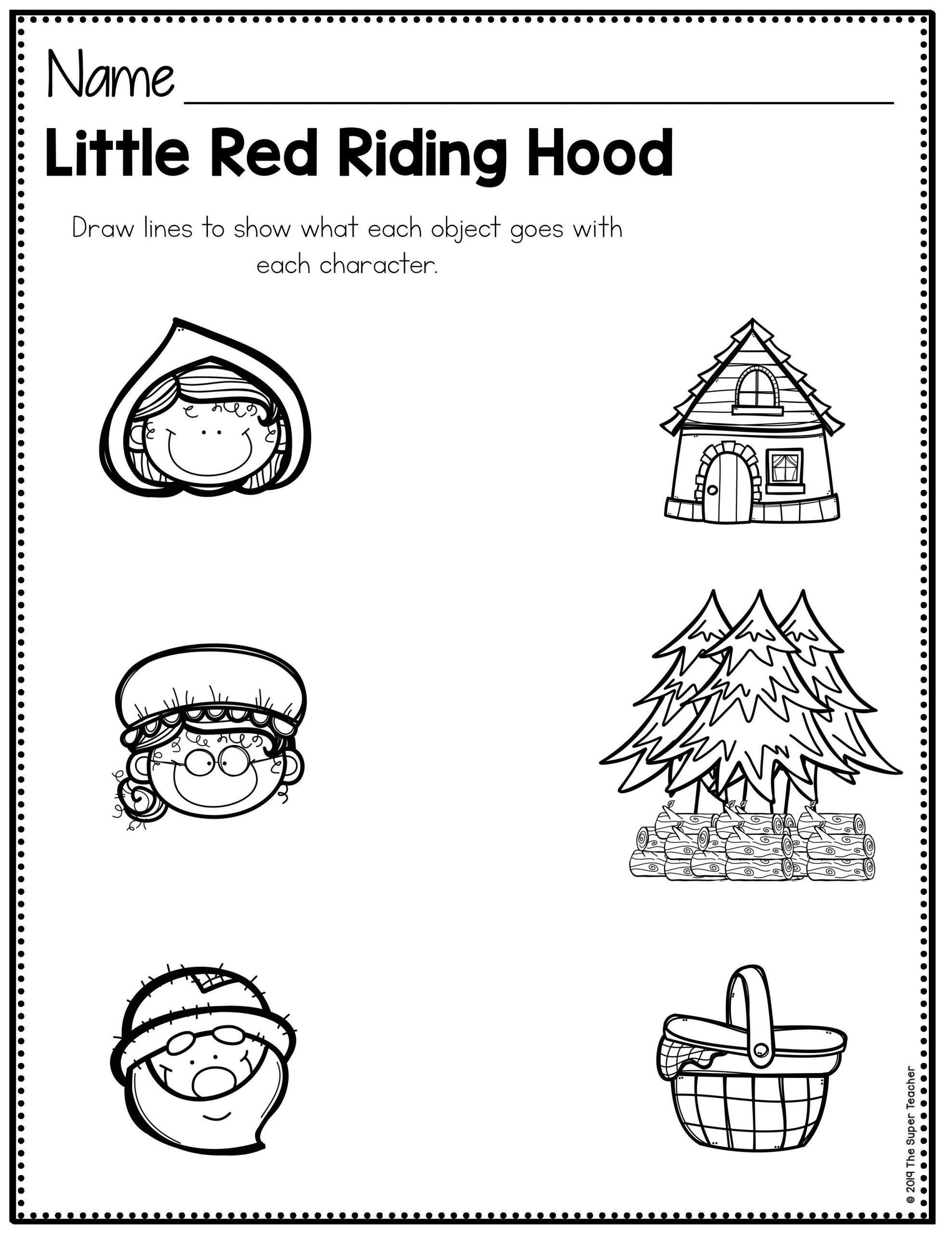 Kindergarten Story Retelling Worksheets Worksheet For Kindergarten Teaching Story Elements Story Retell Little Red Riding Hood [ 2560 x 1978 Pixel ]