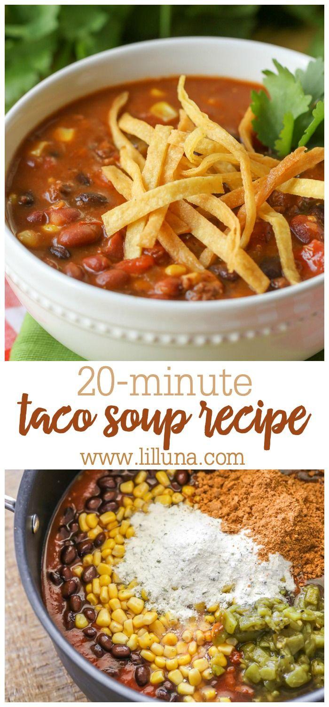 Quick & Easy Taco Soup Recipe (+VIDEO) | Lil' Luna