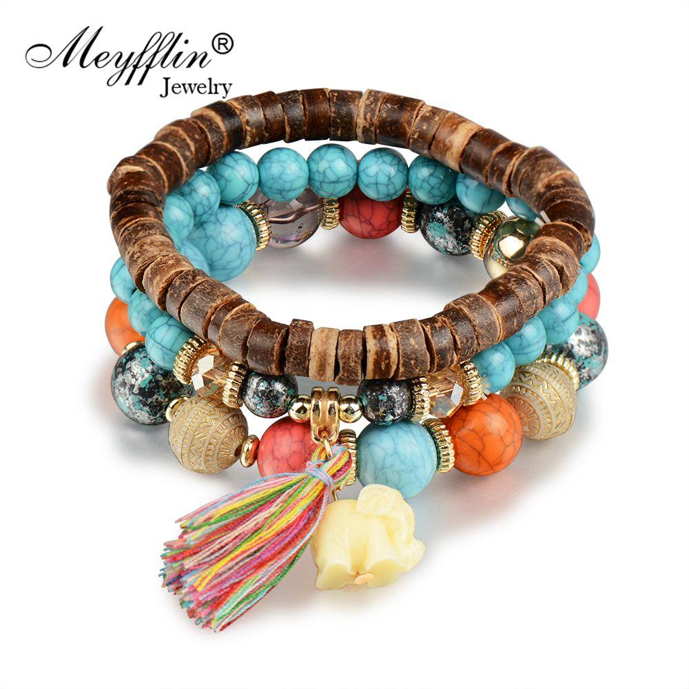 Meyfflin bohemian wood beaded bracelets u bangles for women ethnic