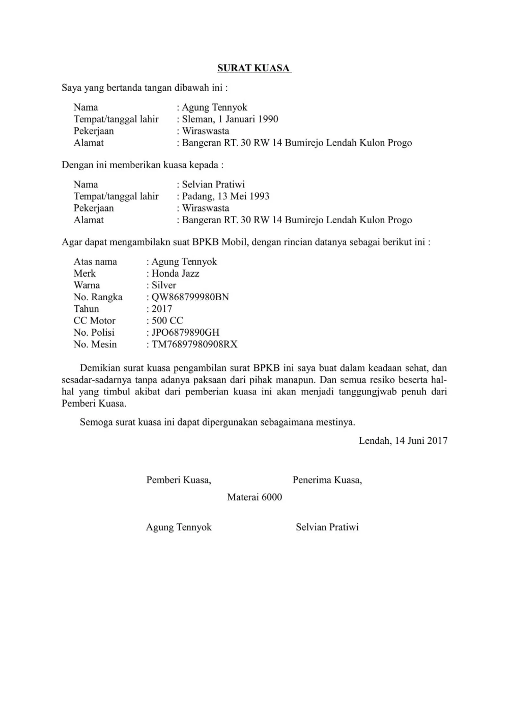 Download Contoh Surat Kuasa Doc Untuk Berbagai Keperluan