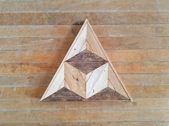 Reclaimed Wood Wall Art Wood Decor Reclaimed Wood Wood Art Rustic Geometric Wood Decor Handmade Triangle Cube Modern Art Wood Wall Art Pallet Wall Art Reclaimed Wood Wall Art