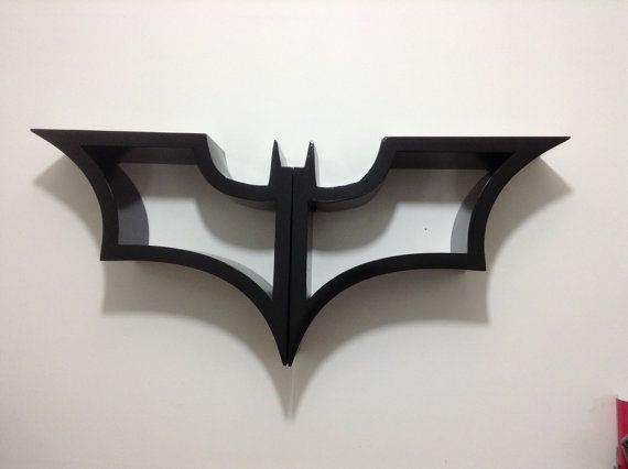Hello!!    The Dark Knight  Batman bookshelf      Measures:  47 inches wide  20 inches tall  8 inches deep    Looks great Is very unique  and on top