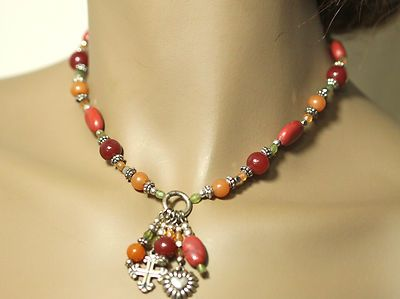 Faceted Multi Shade Bead Heart Cross Drop Choker Necklace