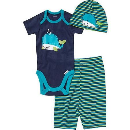 Walmart Baby Boy Clothes Entrancing Gerber Newborn Boy 3Piece Critter Onesie Pant And Cap Set Design Inspiration