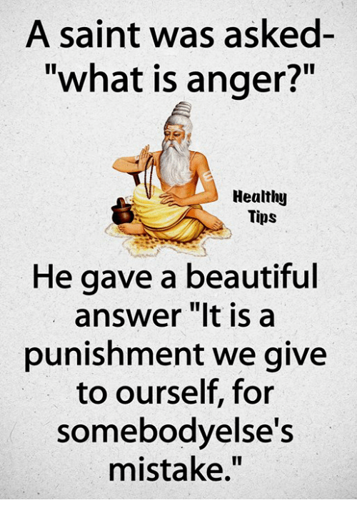 A Saint Was Asked- What Is Anger? Healthy Tips He Gave a Beautiful Answer It Is a Punishment We Give to Ourself for Somebodyelse's Mistake   Beautiful Meme on ME.ME
