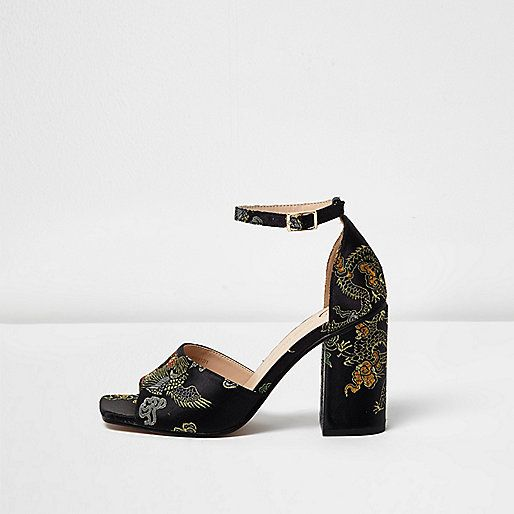 Black embroidered oriental block heel sandals - sandals - shoes / boots -  women