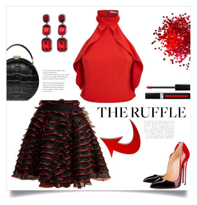 """""""What A Frill"""" by freida-adams ❤ liked on Polyvore featuring Alexander McQueen, Barneys New York and Aspinal of London"""