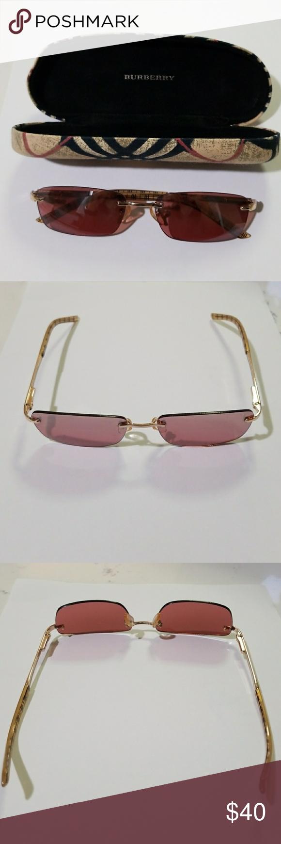 a913269014ef Burberry Sunglass Authentic Burberry Safilo B8918 Sunglasses. Rimless, Gold  Frames, Brown Lens Burberry Accessories Glasses
