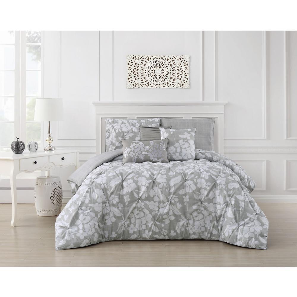 Jacqueline 6 Piece Pinch Pleat Light Gray King Comforter Set Light Grey King Comforter Sets Comforter Sets Queen Comforter Sets