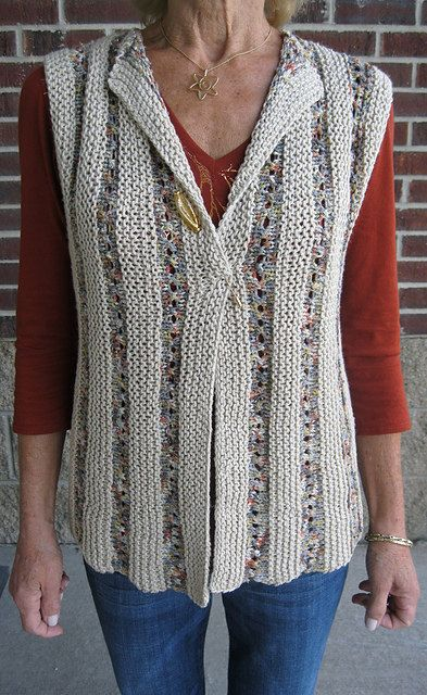 One Piece Sideways Vest Easy Knitting Pattern Pinterest