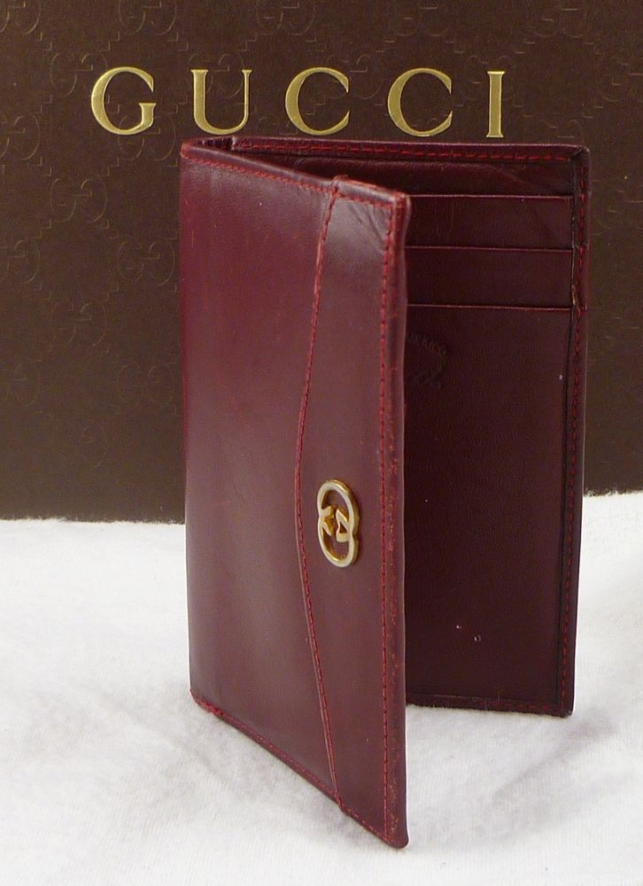 Gucci interlocking g accent leather card case mens red