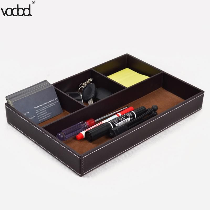 4 Grid Multi Functional Stationery Tray Key Holder Pu Luxury Pen Holder House Office Cards Desk Storage Bo Desktop Storage Luxury Pens Dresser Top Organization