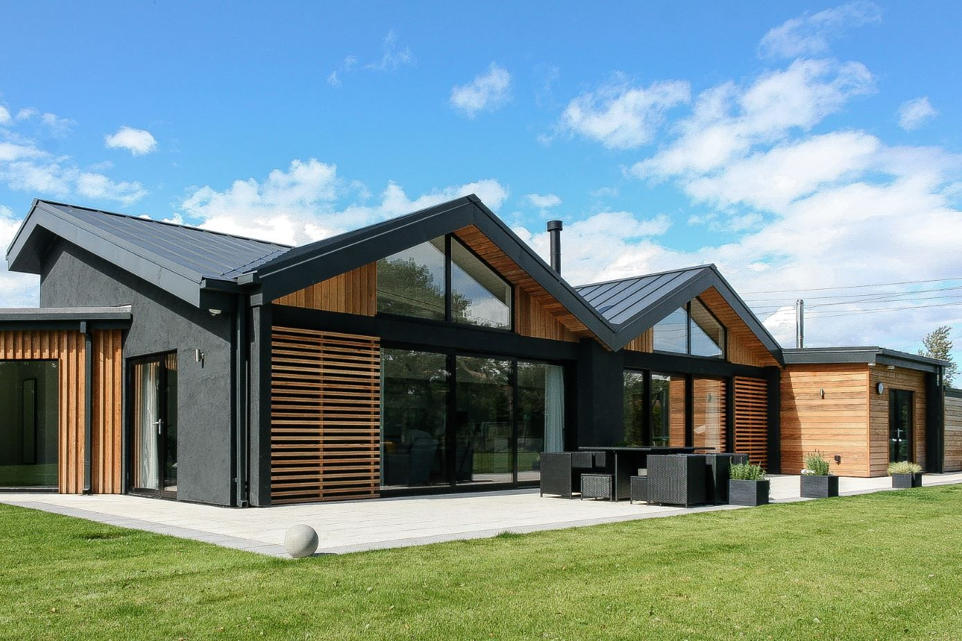 Contemporary disability bungalow in harrogate with cedar cladding contemporary disability bungalow in harrogate with cedar cladding and dark grey through colour render malvernweather Choice Image