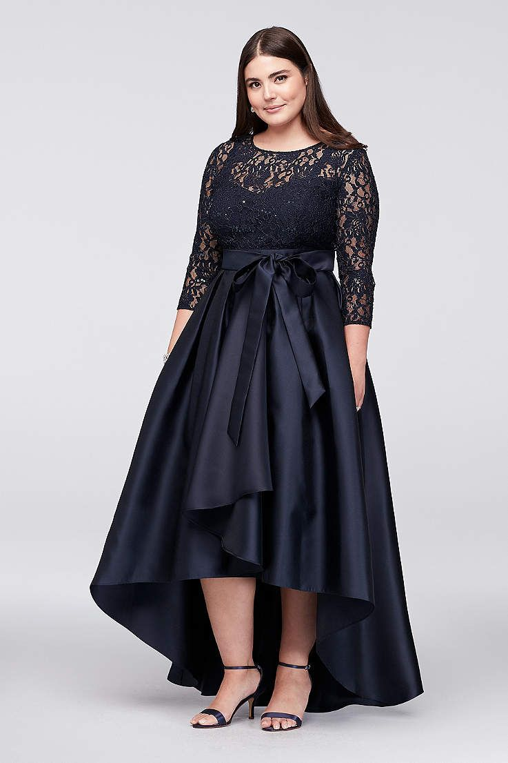 Find The Perfect Women S Plus Size Dresses At David S Bridal For Any Occasion Including Coc High Low Ball Gown Plus Size Vintage Dresses High Low Dress Formal