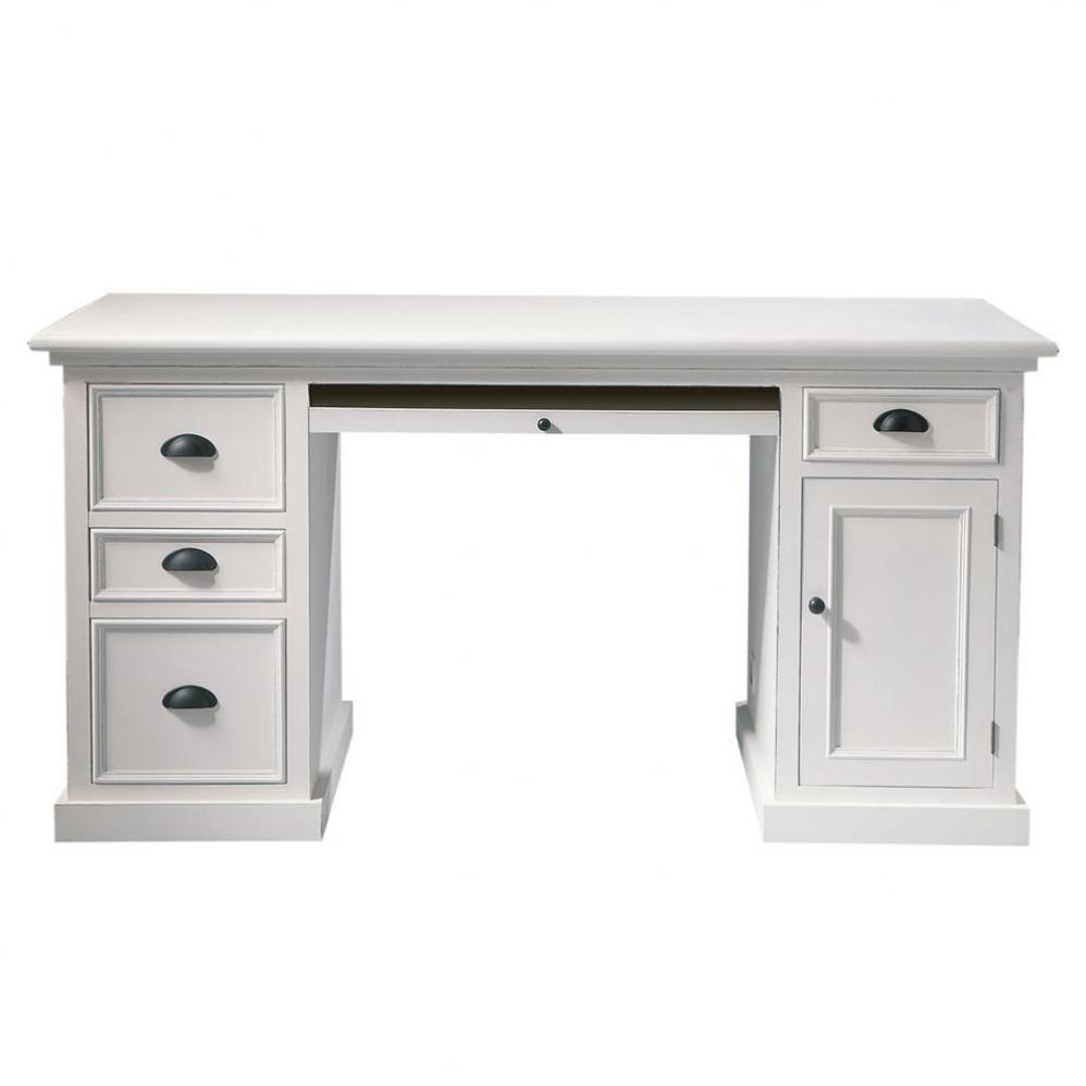 Bureau 1 porte 4 tiroirs blanc   Déco in 2019   Desk, Desk ...