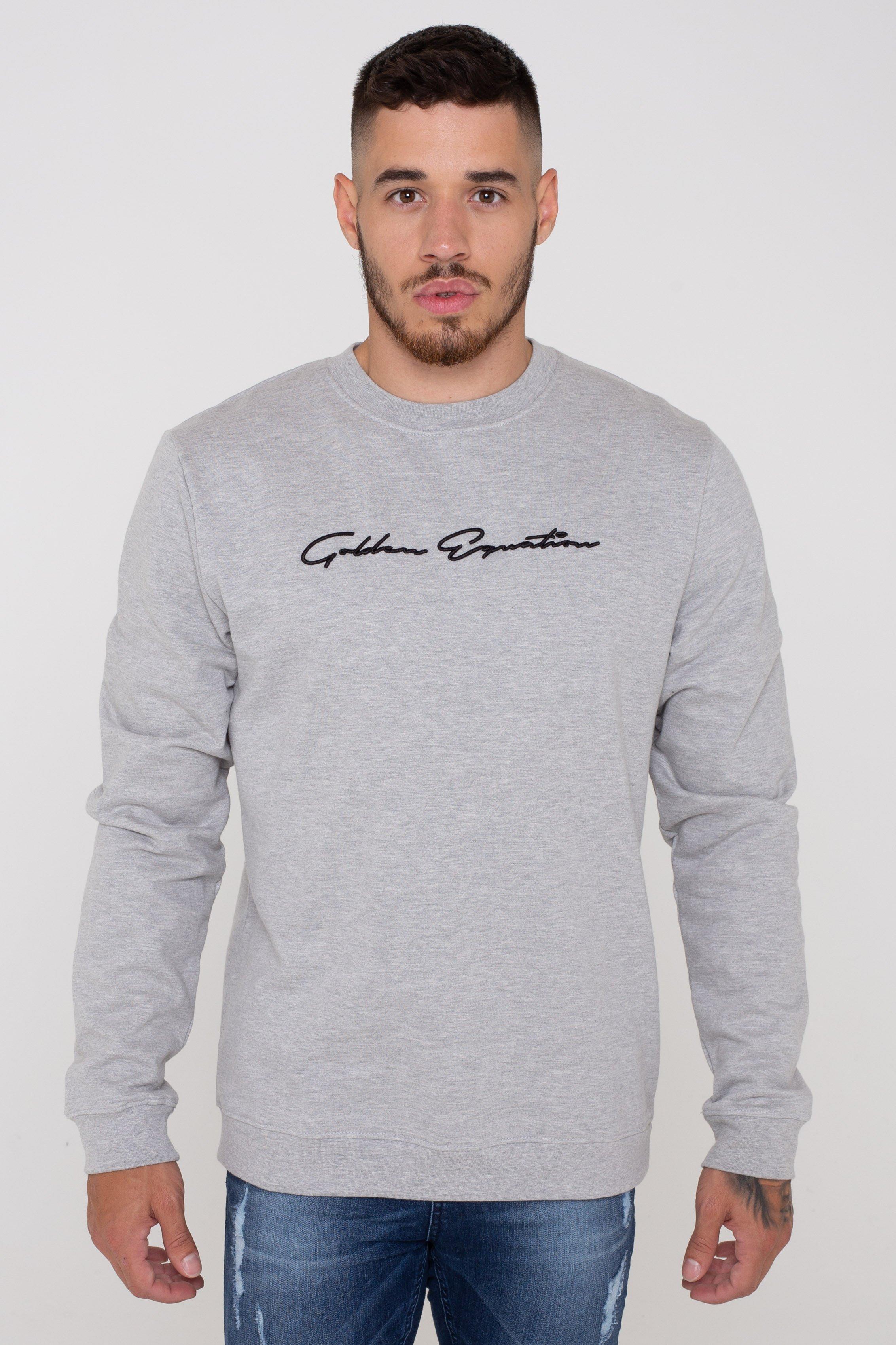 Men's West Basic Signature Fleece Back Jumper Grey