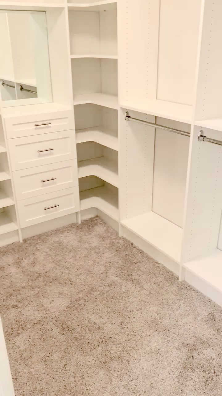 White Master closet with Mirror and Vanity
