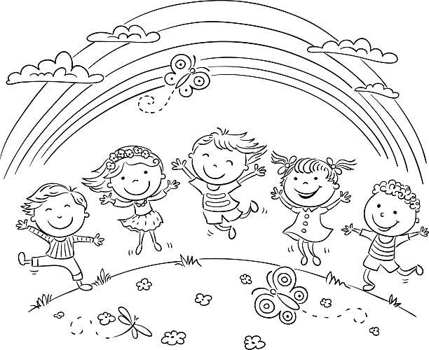 Kids Jumping With Joy On A Hill Under Rainbow Black And White