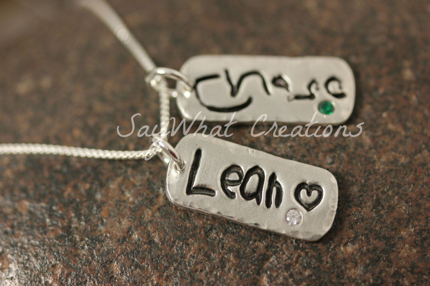 Your Child's Actual Handwriting Necklace with by SayWhatCreations