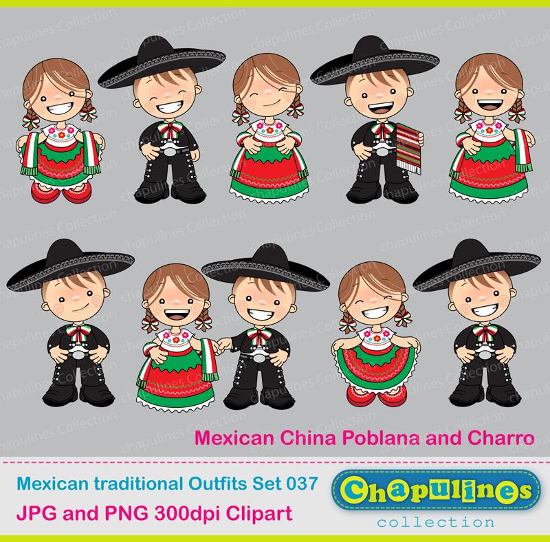 Chapulines Collection en Español: 5 de Mayo freebie, China Poblana y Charro, trajes tradicionales mexicanos, dibujo para colorear.