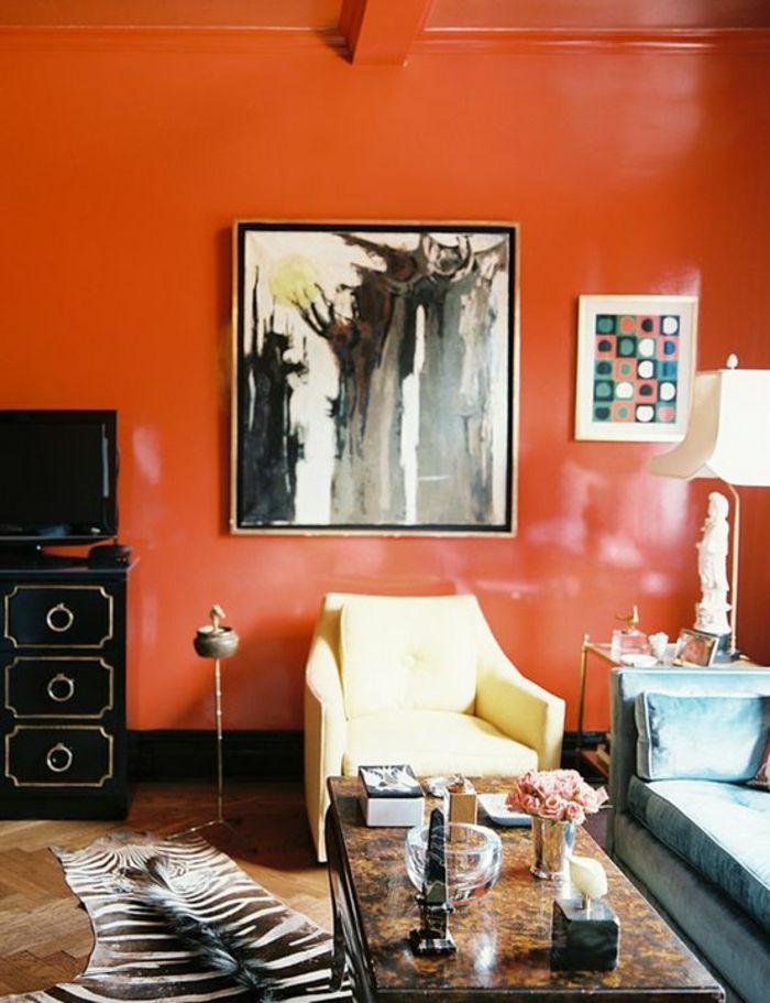 Wandfarbe Ideen Tangerin Zebra Teppich Wohnzimmer