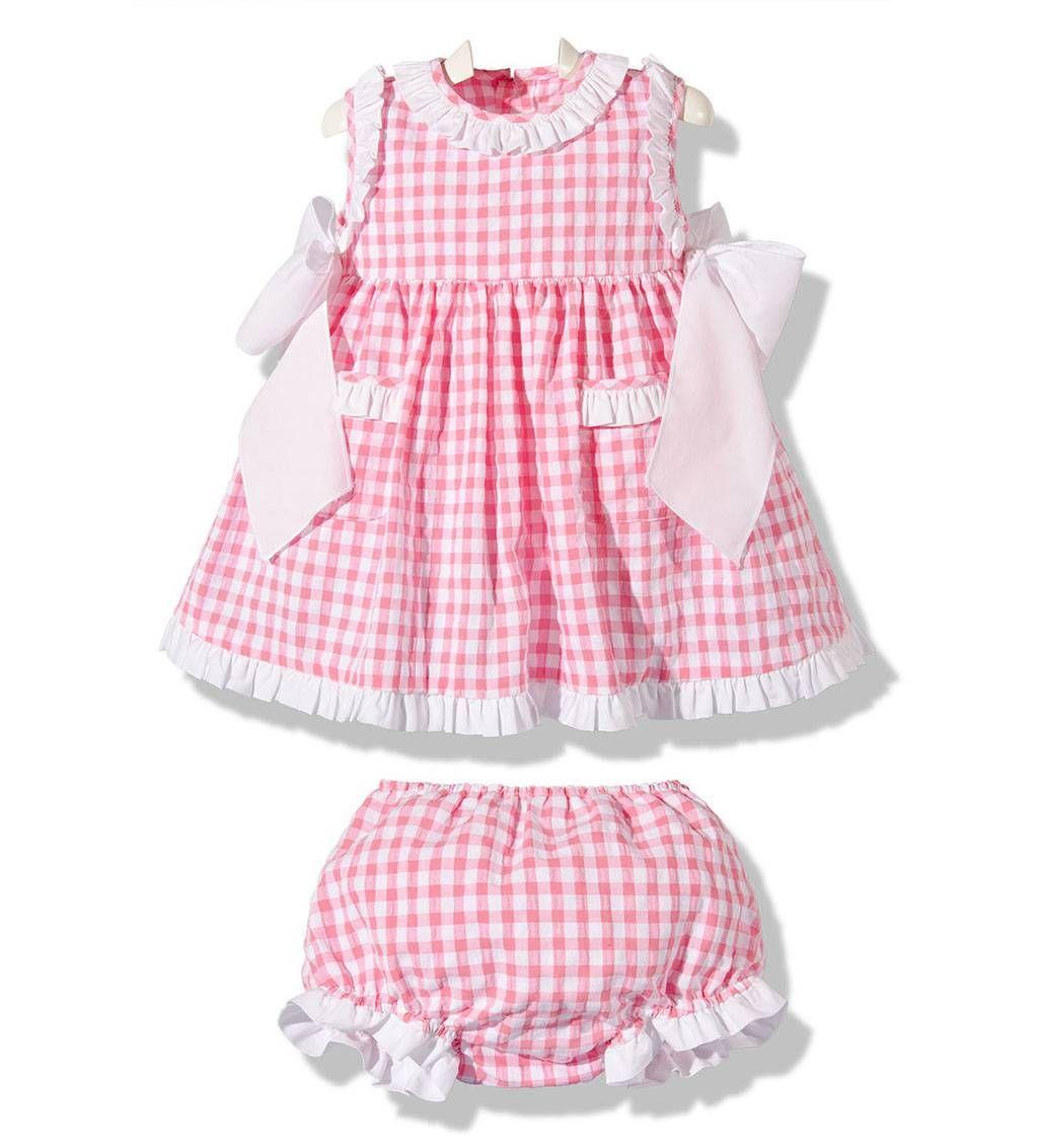 8f4e0009f Precioso vestido de verano para niña con braguita a juego en cuadros vichy  rosa y blanco moda infantil