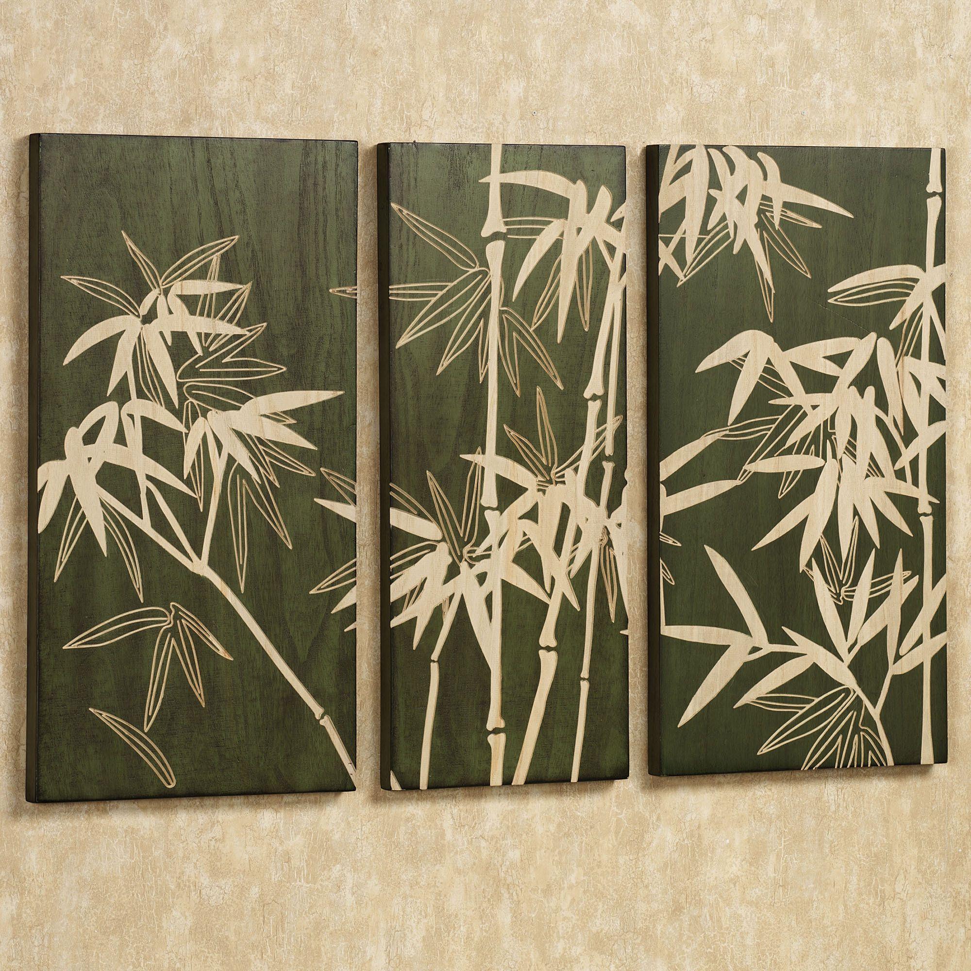 Bamboo Grove Wooden Triptych Wall Art Set Decoracion Balinesa Hojas De Acuarela Paredes Pintadas