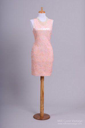 1980\'s Shell Pink Sequin Oleg Cassini Vintage Evening Dress ...
