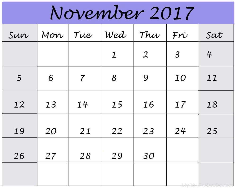 calendar november november 2017