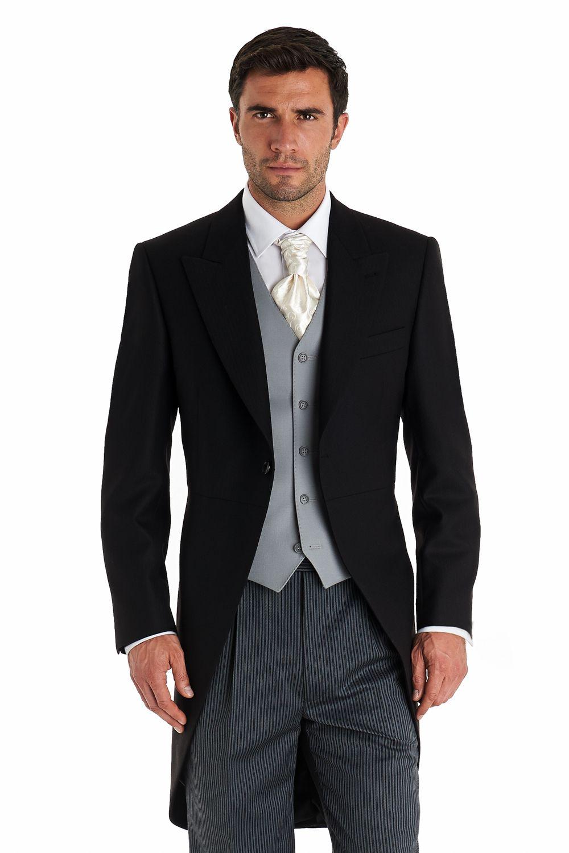 Moss Bros Regular Fit Fine Herringbone Morningwear Coat Black