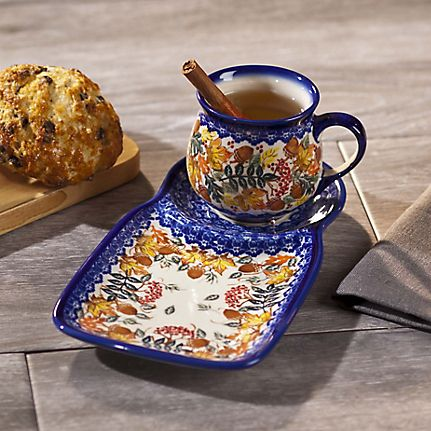 Maple and Ash Autumnal Polish Pottery Mug and Plate Set & Neat idea for soup and sandwich or early morning coffee and muffin ...