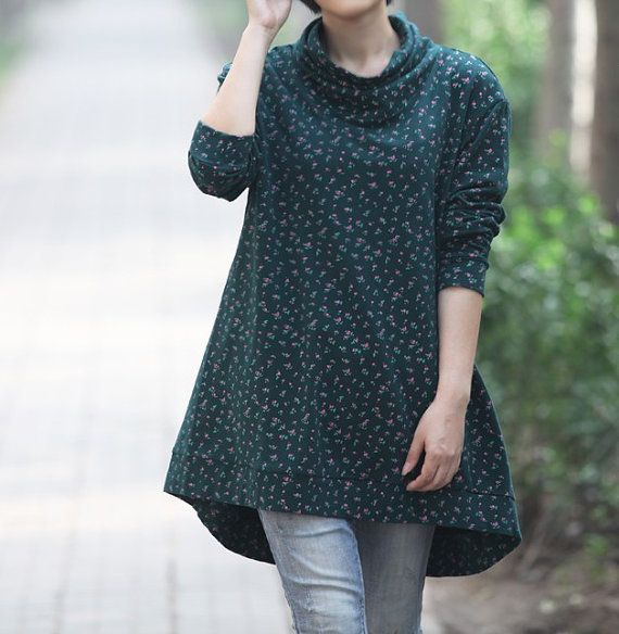 cotton asymmetric pile collar long t shirt/ fashion by MaLieb, $89.00