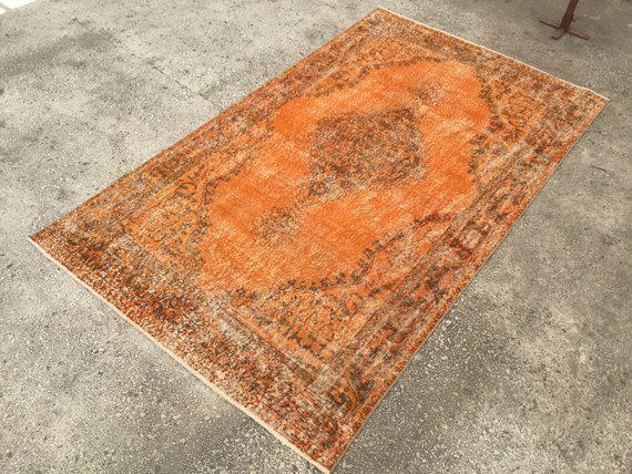 Distressed Rug Orange Vintage Turkish Kilim 8 5x5