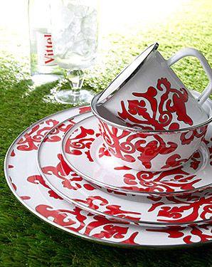 Golden Rabbit Red Damask Dinnerware & Golden Rabbit Red Damask Dinnerware: | Laura Fair For the Home ...