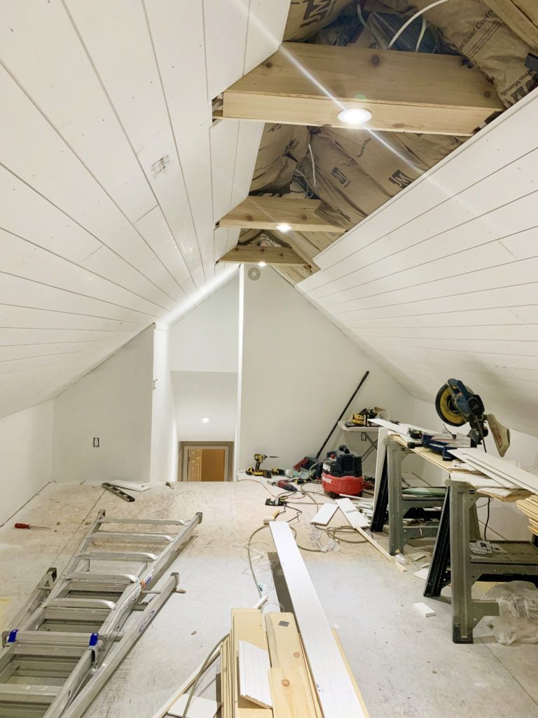 Attic Office Shiplap Ceiling Cedar Beams Are Done Attic Office Shiplap Ceiling Attic Master Bedroom