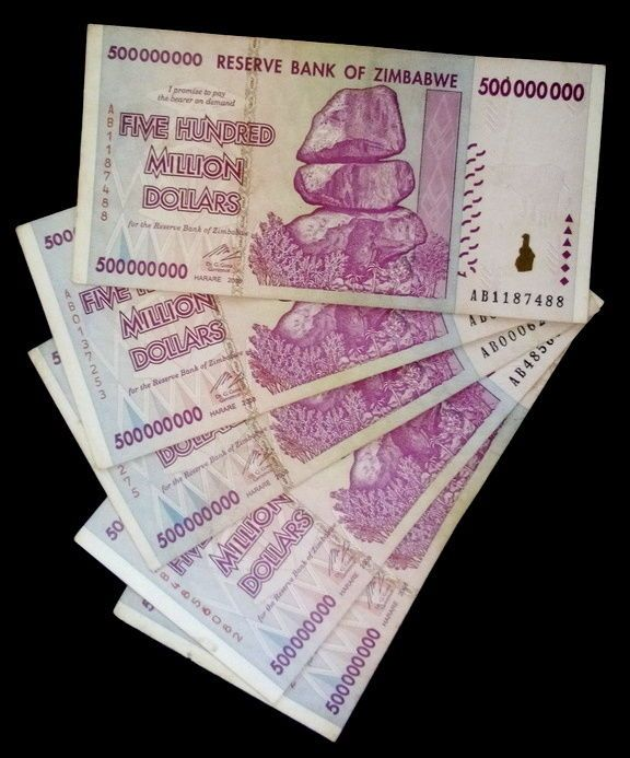 P-82 2008 Prefix AA Zimbabwe 500000000-500 Million Dollars UNC