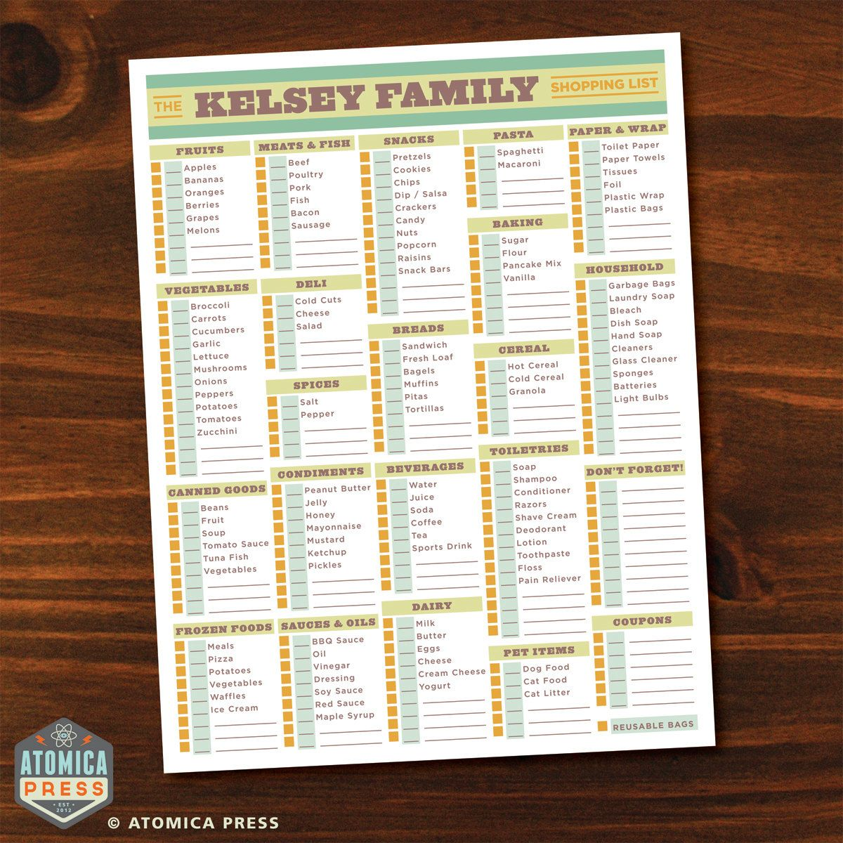 Printable Shopping List (With