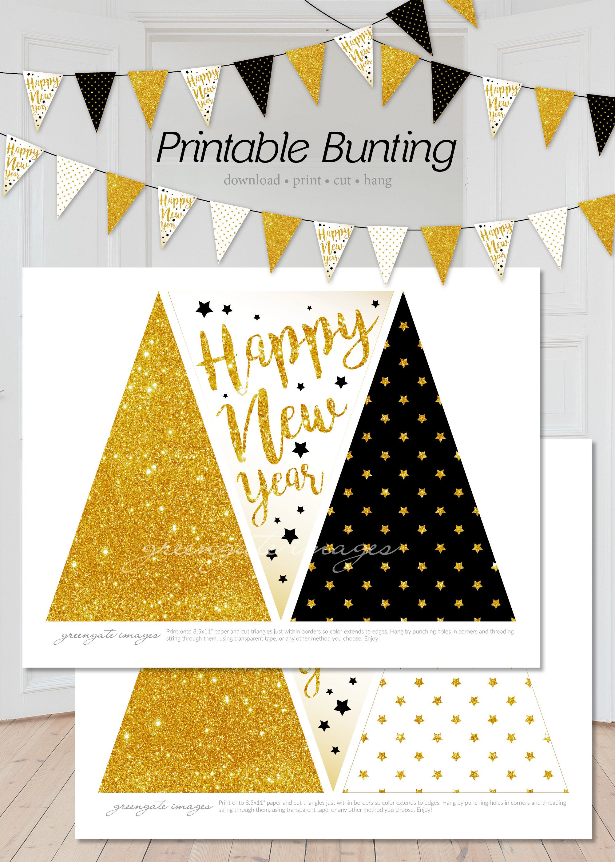 happy new year printable bunting download digital banner pdf garland party decor new years eve printable black and gold bunting by greengateimages