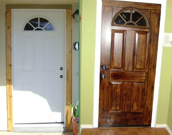 How to paint your metal front door to look like wood for Faux wood front doors