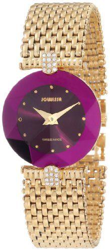 Jowissa Women S J5 016 M Facet Strass Gold Pvd Dimensional Glass Purple Dial Rhinestone Watch Watch De Rhinestone Watches Watches Women Fashion Diamond Watch